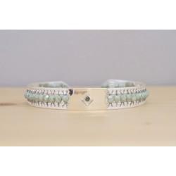 bracelet jonc femme, plaqué argent et perles vert émeraude