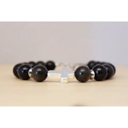 bracelet homme en obsidienne du Mexique, croix en plaqué argent