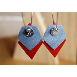 créoles argent 925, cuir rouge et bleu pailleté