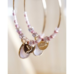 créoles plaqué or et quartz rose