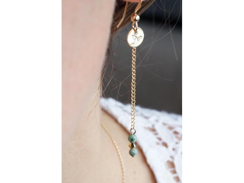 boucles pendantes plaqué or, swarovski et turquoise africaine