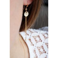 boucles pendantes plaqué or et swarovski , blanc et or