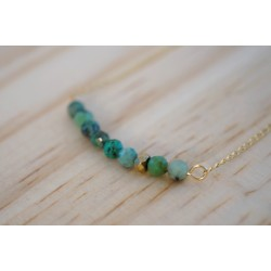 collier or et turquoise africaine