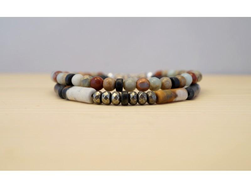 bracelet homme en pierres fines, jaspe picasso, jaspe aquaterra, pyrite et onyx d'afrique