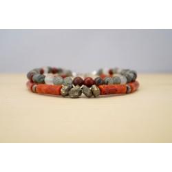 bracelet homme en pierres fines, gorgone, pyrite, agate sang