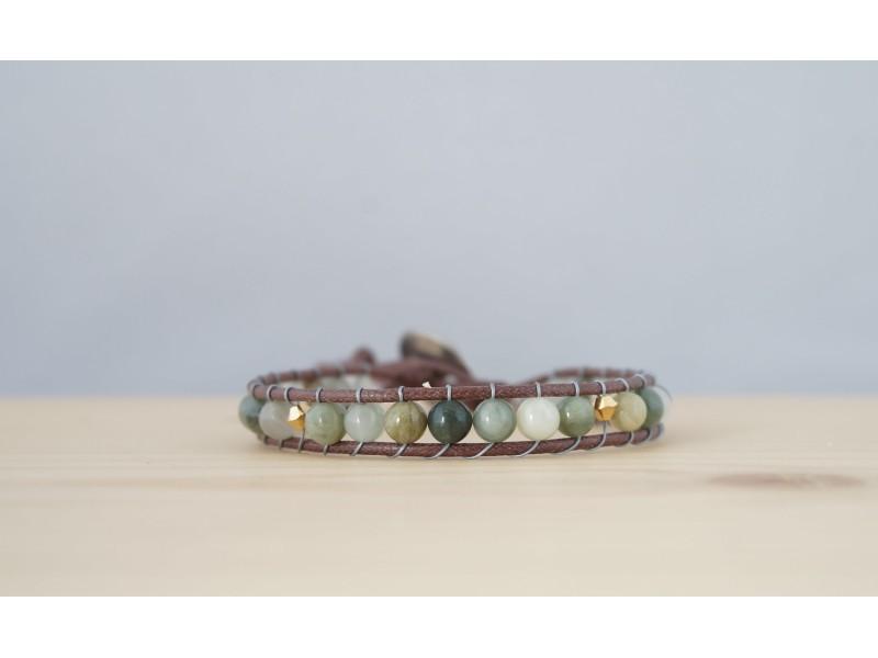 bracelet femme en agate mousse, vert , or et brun