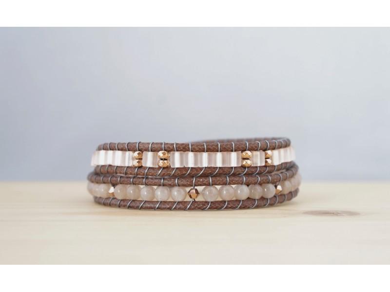 bracelet pierre de lune, or rose et saumon