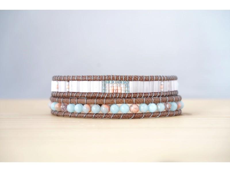 bracelet femme, pierres fines, jaspe impérial, miyuki et swarovski, rose poudre et bleu ciel