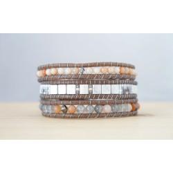 bracelet femme, aventurine, gris et orange