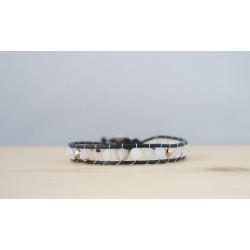 bracelet femme en agate blanche et swarovski or rose