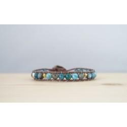 bracelet femme en apatite, bleu et or