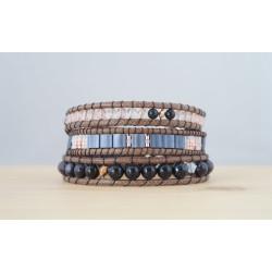 bracelet femme, bleu nuit et rose poudre, pierre fine, blue sand stone et quartz