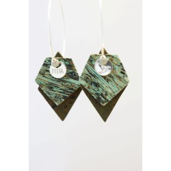 créoles argent 925, liége vert et kaki