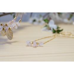 collier femme ras de cou, plaqué or et quartz rose