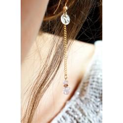 boucles pendantes en quartz rose et plaqué or