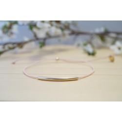 bracelet fin perle tube plaqué or et rose