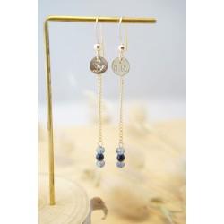 boucles d'oreilles en blue sand stone et verre de bohème, bleu et or