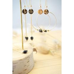 boucles pendantes plaqué or et cristal noir