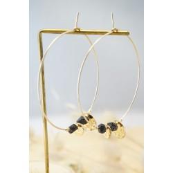 créoles plaqué or et cristal noir