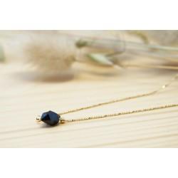 collier ras de cou plaqué or et cristal noir