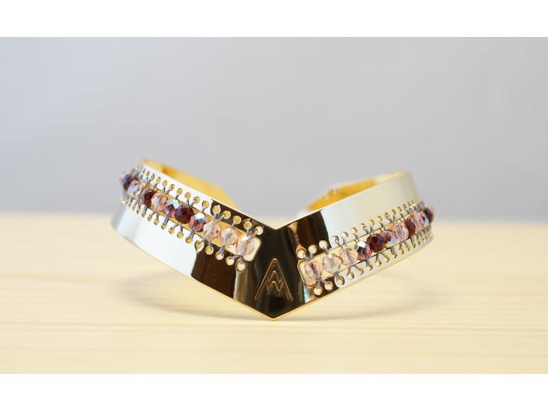 bracelet femme jonc or, bordeaux et rose