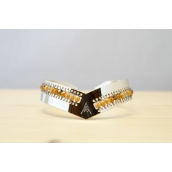 jonc bracelet femme, or et fauve