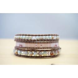 bracelet femme en pierre fine jaspe impérial, rose, bleu ciel et nude