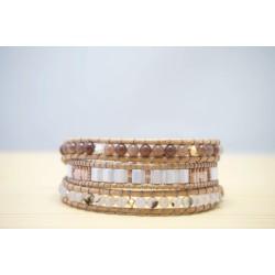 bracelet femme en pierre aventurine et agate, nude, nacre, rose poudré et mauve