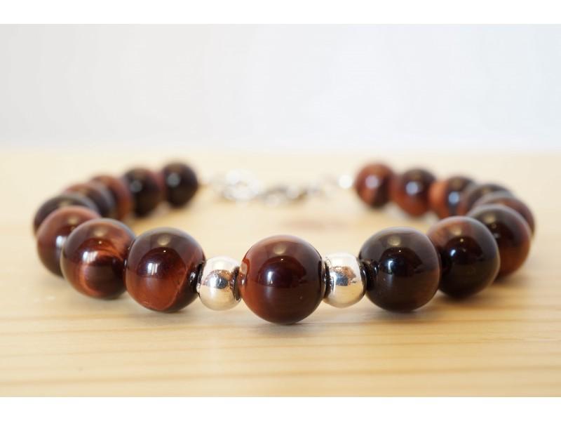 bijou homme, bracelet, pierre semi précieuses oeil de taureau