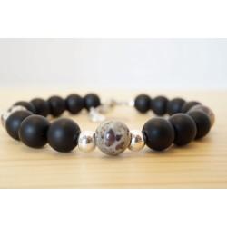 bijoux homme, bracelet pierres, onyx et jaspe dalmatien