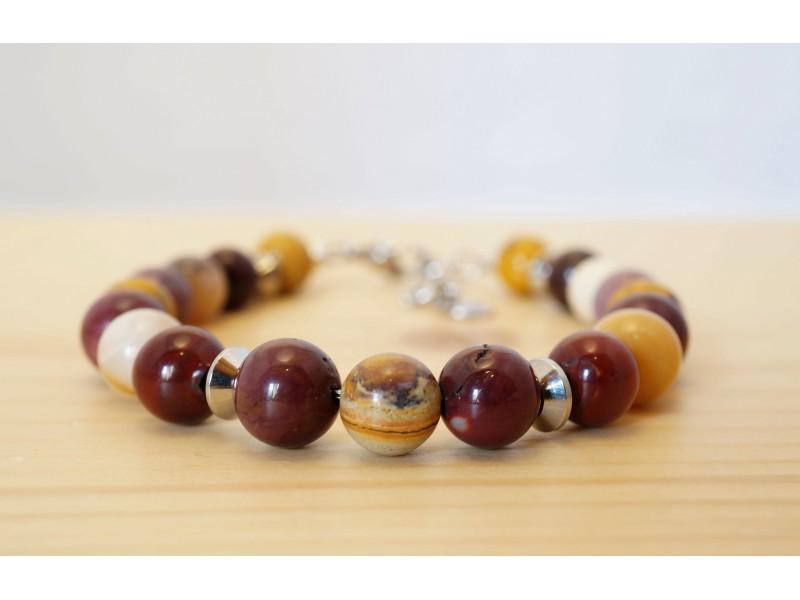 bijoux homme, bracelet en pierres jaspe mokaite