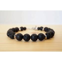 bracelet, bijoux homme, pierre de lave, noir