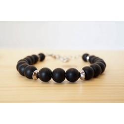 bracelet homme, bijoux pierre, onyx noir mat