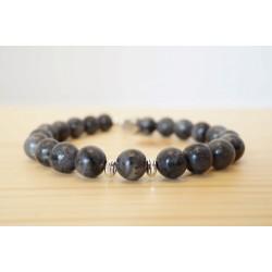 bracelet homme, pierre fine, labradorite d'afrique, gris