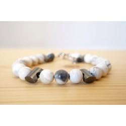bracelet homme en howlite et hématite, gris et blanc