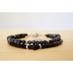 bracelet homme, oeil de tigre bleu, onyx, hématite, magnésite, noir bleu et argent