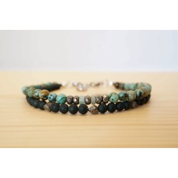 bijou homme, green sand stone, pyrite, turquoise africaine