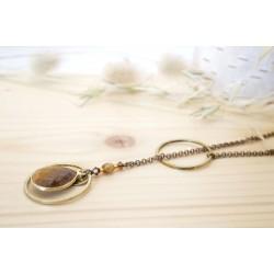 collier sautoir en laiton et pierre naturelle, oeil de tigre, marron, fauve et crème