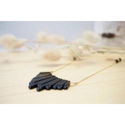 collier sautoir plaqué or et pierre naturelle onyx noir et or