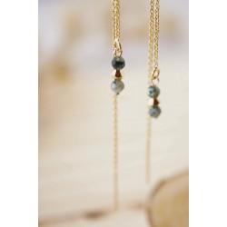 boucles d'oreilles longues , chainette et pierres naturelles , turquoise africaine et plaqué or, tons de vert et or