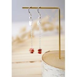 boucles d'oreilles pendantes en argent 925 et coquillage du pacifique, rouge/orangé et argent