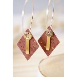 créoles plaqué or et liége , vieux rose et doré