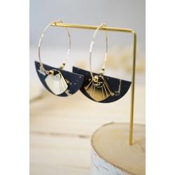 bijou vintage, créoles boucles d'oreilles femme, noir et plaqué or, en liège