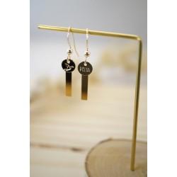 bijou femme, boucles d'oreilles en plaqué or, rectangle doré