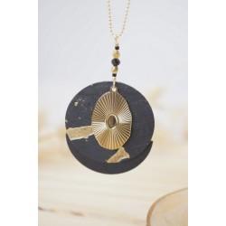 Collier Vintage, sautoir, bijou femme, plaqué or, liège noir