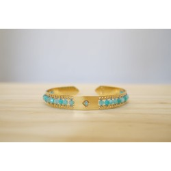 bijou femme, bracelet, jonc doré en pierres naturelles bleu turquoise, amazonite