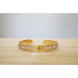 jonc femme, bijoux en pierre fine rhodonite, doré à l'or fin