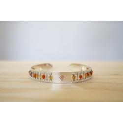 Bracelet jonc , bijou femme, plaqué argent, pierre naturelle, cornaline d'Inde