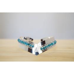 bracelet jonc pointu , plaqué argent, apatite du brésil bleu