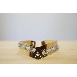 bracelet femme, jonc en laiton doré à l'or fin, tissé de pierres naturelles en agate mousse